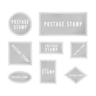 Grey postal stamp template collection with shadow