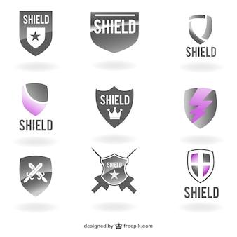 Grey and purple shields