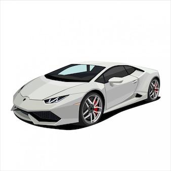 Grey race car, sport car illustration
