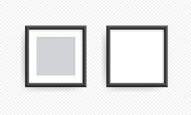 Grey realistic picture frame on the wall or realistic square picture or photo frame
