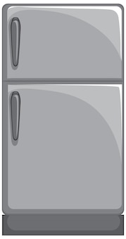 Grey refrigerator in cartoon style isolated