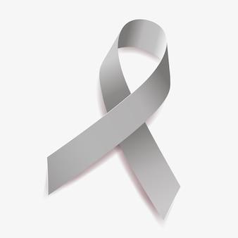 Серая лента осведомленности опухоли головного мозга, аллергии, рак головного мозга, астма, диабет, афазия, психические заболевания. изолированные на белом фоне. векторная иллюстрация.