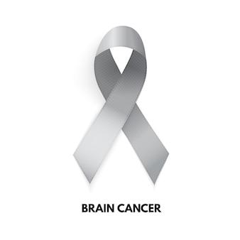 Grey ribbon. brain cancer sign. vector illustration eps10