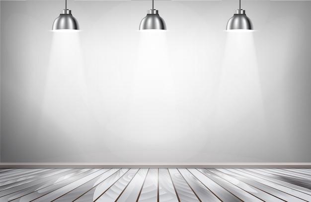 Серые комнаты прожекторов и деревянный пол.