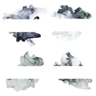 Коллекция акварельных баннеров серых оттенков