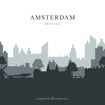 Grey skyline of amsterdam