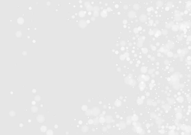 Grey snowfall festive banner. season snowflake card
