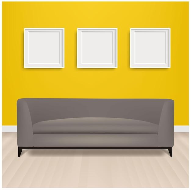 그레이 소파 베드와 액자 및 그라디언트 메쉬가있는 노란색 배경