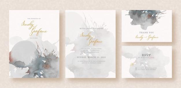 Grey splash watercolor on wedding invitation
