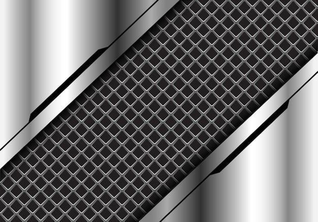 Grey square mesh silver futuristic technology background.