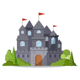 Серый камень мультяшный сказочный замок башня значок с зелеными деревьями и кустами, красный флаг.