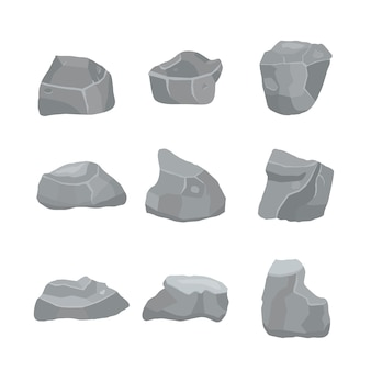 Grey stones set  different elements of mountains and rocks