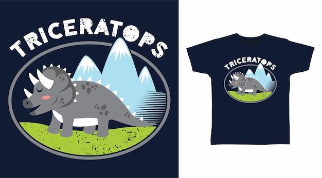 Серый дизайн футболки динозавра трицератопса