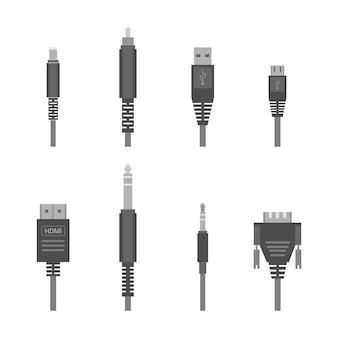 Серый различные аудио разъемы и входы Premium векторы