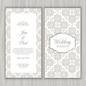 Grey vintage wedding invitation
