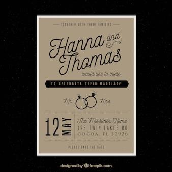 グレー結婚式招待状テンプレート