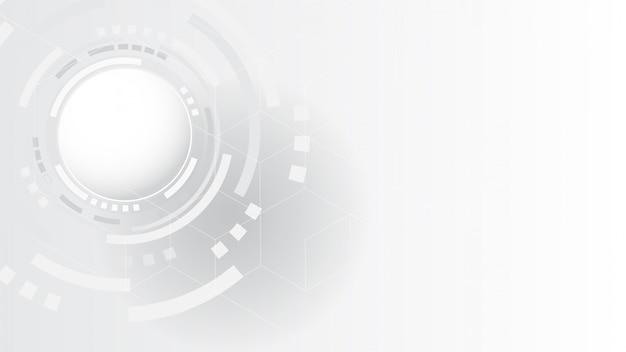 灰色の白の抽象的な技術の背景、ビジネスグラフィック、ハイテク通信概念革新の背景、科学および技術のデジタルラインの白い背景