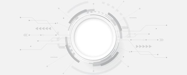 회색 흰색 추상 기술 배경, 텍스트에 대 한 원형 빈 공간