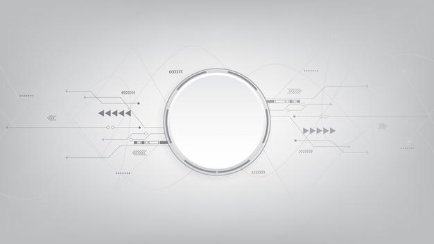 회색 흰색 추상적 인 기술 배경, 하이테크 디지털 연결, 통신, 첨단 기술 개념, 과학, 기술 배경