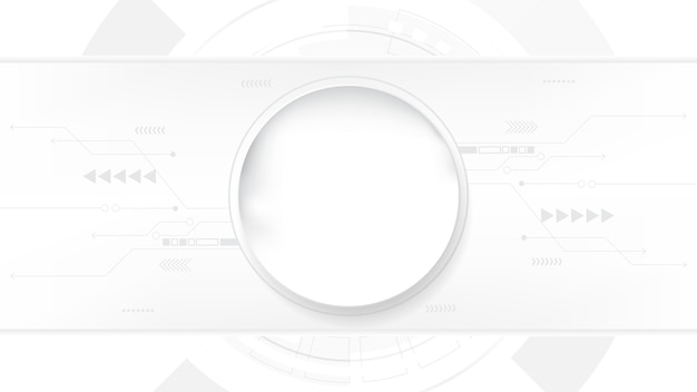 灰色の白い抽象的な技術の背景、ハイテクデジタル接続、通信、高度な技術の概念、科学、技術の背景