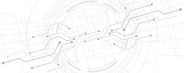 灰色の白さまざまな技術要素と抽象的な技術の背景ハイテク通信概念革新の背景あなたのテキストのための円の空のスペース