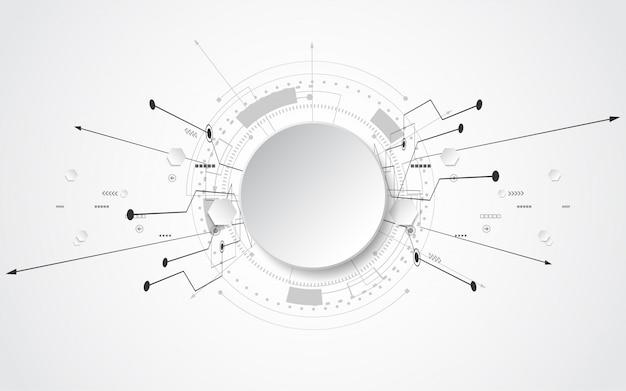 様々な技術要素と灰色の白の抽象的な技術の背景ハイテクコミュニケーションコンセプトイノベーション背景テキストのサークル空スペース