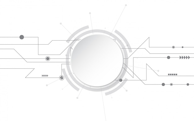 Grey white abstract technology background with various technology elements hi-tech communication concept innovation background