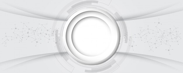 Grey white abstract technology background with various technology elements hi-tech communication concept
