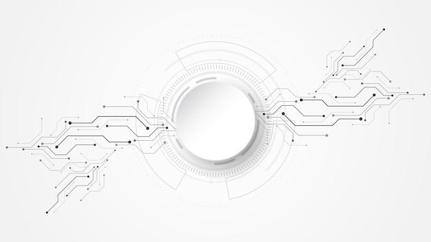 さまざまな技術要素ハイテク通信と灰色の白い抽象的な技術の背景