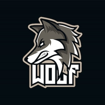 Grey wolf predator e-sport mascot logo