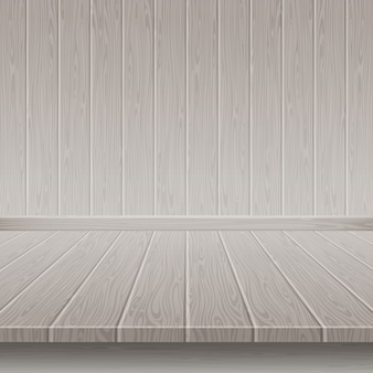 Grey wooden wall and floor