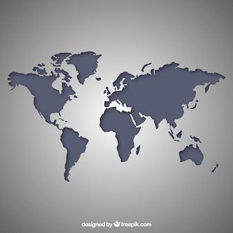 Карта мира серый
