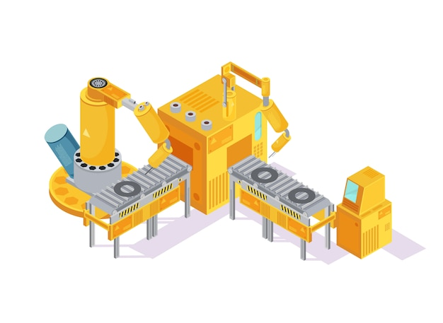 Grey yellow welding conveyor with robotic hands and computer control on white isometric