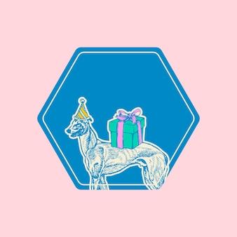 Moriz jung의 작품에서 리믹스된 그레이하운드 개 배지 빈티지 일러스트레이션