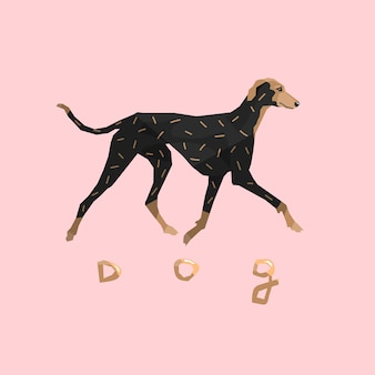 핑크 배경에 그레이하운드 개 격리 됨 개 품종 골드 디자인