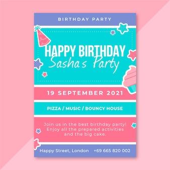 Шаблон плаката на день рождения в сетке