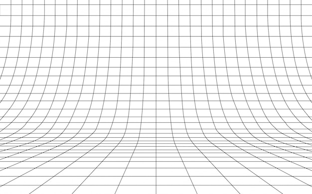 Grid curved background empty in perspective,  illustration.