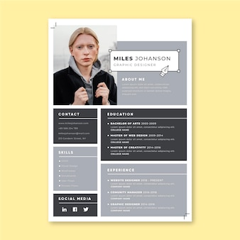 Grid design resumes template
