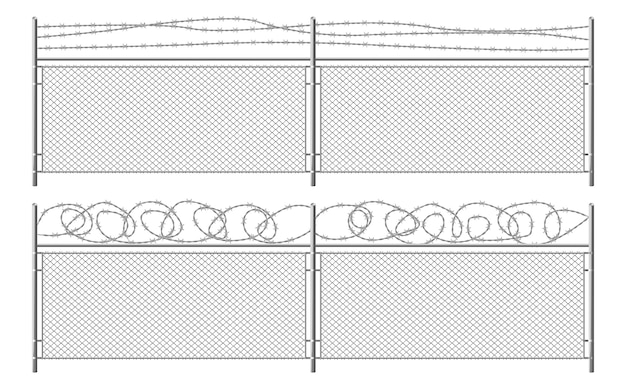 Grid fence with barbed wire