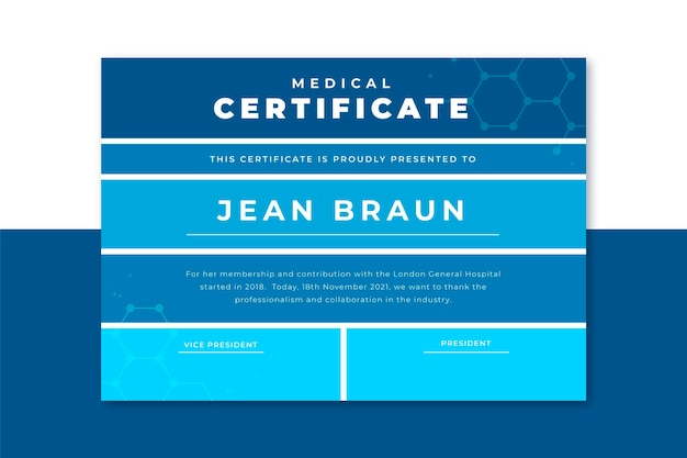 Grid medical certificate template