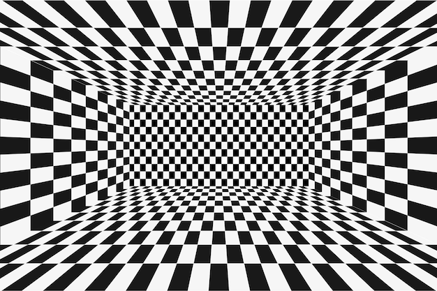 격자 원근법 흑백 방. 체스 와이어프레임 배경입니다. 디지털 사이버 박스 기술 모델. 벡터 추상 환상 템플릿