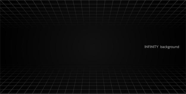 격자 원근법 검은 방 바닥 및 셀링. 회색 와이어 프레임 배경입니다. 디지털 사이버 박스 기술 모델. 벡터 추상 건축 템플릿