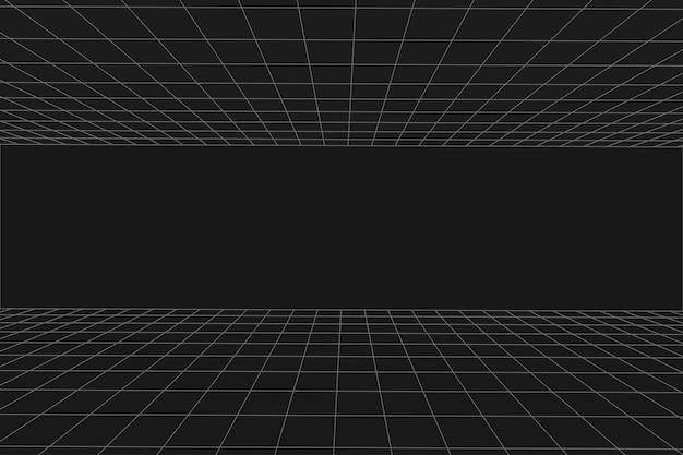 격자 원근법 검은 방. 바닥 및 셀링. 회색 와이어 프레임 배경입니다. 디지털 사이버 박스 기술 모델. 벡터 추상 건축 템플릿