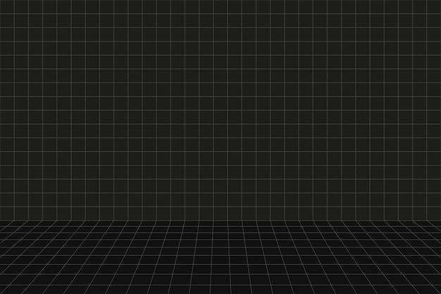 격자 원근법 검은 방. 바닥과 벽. 회색 와이어 프레임 배경입니다. 디지털 사이버 박스 기술 모델. 벡터 추상 건축 템플릿