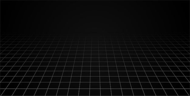 그리드 관점 블랙 룸 바닥입니다. 회색 와이어 프레임 배경입니다. 디지털 사이버 박스 기술 모델. 벡터 추상 건축 템플릿