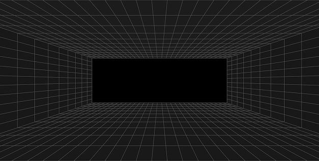 격자 원근법 검은 방. 회색 와이어 프레임 배경입니다. 디지털 사이버 박스 기술 모델. 벡터 추상 건축 템플릿
