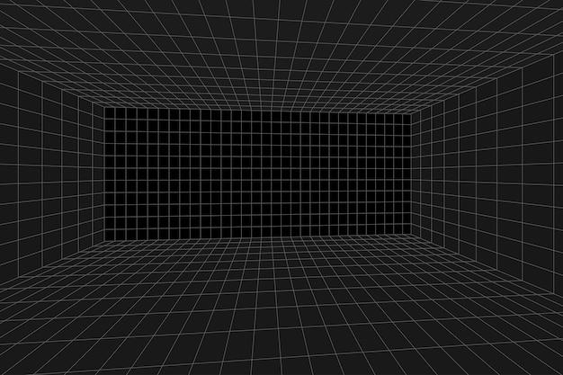 Сетка перспективы черная комната. серый каркасный фон. цифровая модель технологии кибер-бокса. вектор абстрактный архитектурный шаблон