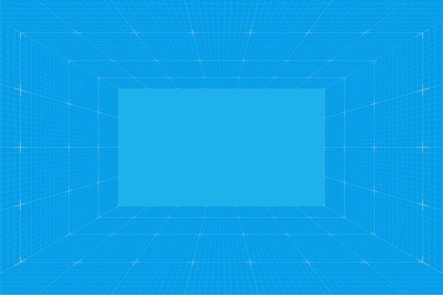グリッド遠近法の青写真室。ワイヤーフレームミリメートル紙の背景。デジタルサイバーボックステクノロジーモデル。ベクトル空白の建築テンプレート
