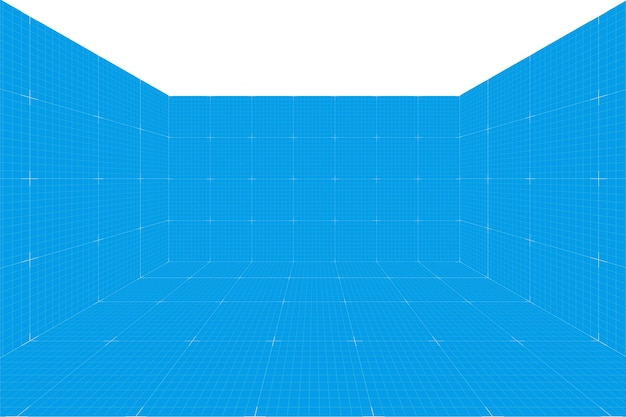 Grid perspective blueprint room without celling. wireframe millimeter paper background. digital cyber box technology model. vector blank architectural template