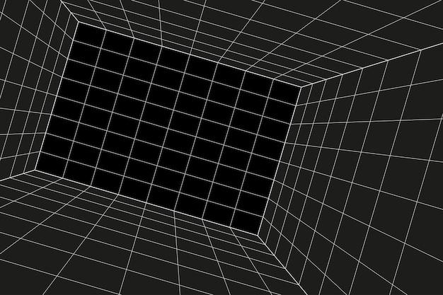 격자 원근법 경사진 검은 방. 회색 와이어 프레임 배경입니다. 디지털 사이버 박스 기술 모델. 벡터 추상 건축 템플릿